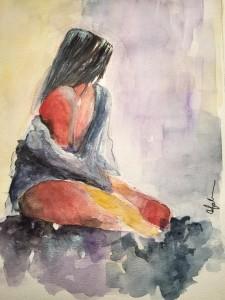 akvarellkvinna